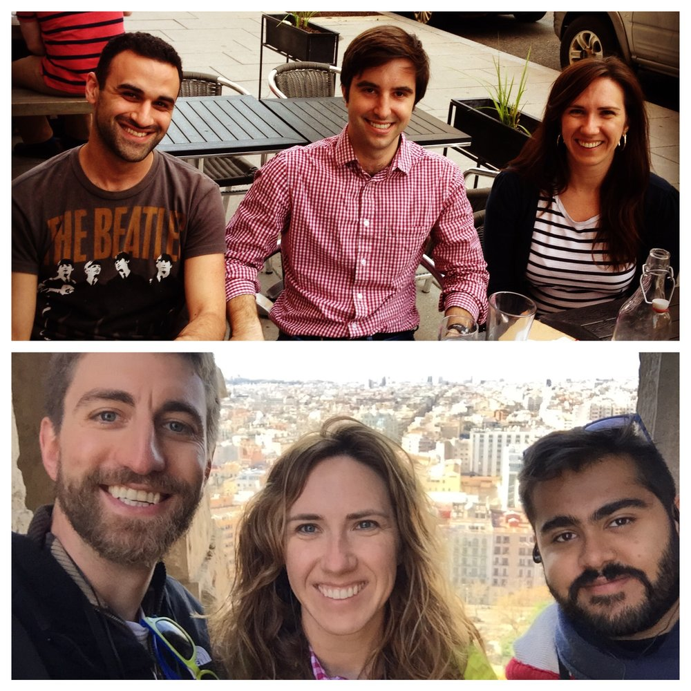 A small showing of the diverse group of friends I have come to respect and admire at school (the top picture was taken at the end of my 1L year; the bottom was taken in the tower of the Sagrada Familia cathedral on our global residency to Spain. One was from CA, one from NY, one from MD, and one from India. They were all brilliant and challenged me on a daily basis, and I am grateful for their friendship.