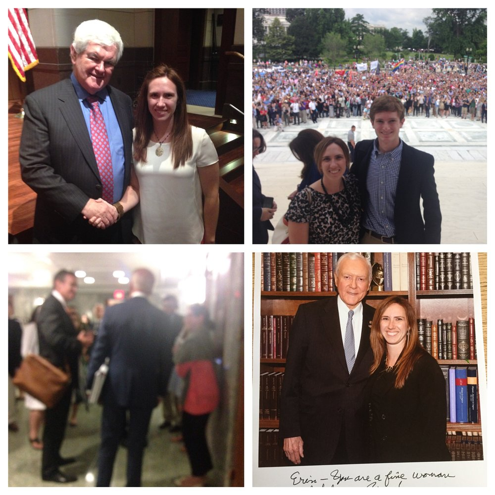 A montage of people and experiences from my time as a Law Clerk on the Senate Finance Committee. Top right: me and Newt Gingrich. Top Left: Me and another intern just after exiting the Supreme Court room where we listened to Justice Kennedy announce that same-sex marriage was constitutional. Bottom left: My very blurry picture of Vice President Joe Biden, taken just after I said hello to him so my hands were still shaking. Bottom right: Me and Senator Orrin Hatch.