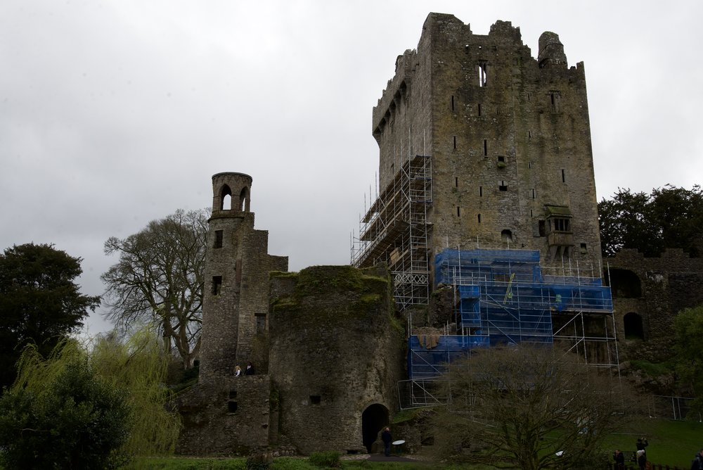 The side view of Blarney Castle. The scaffolding is a little ugly, but it's got a nice romantic air about it.