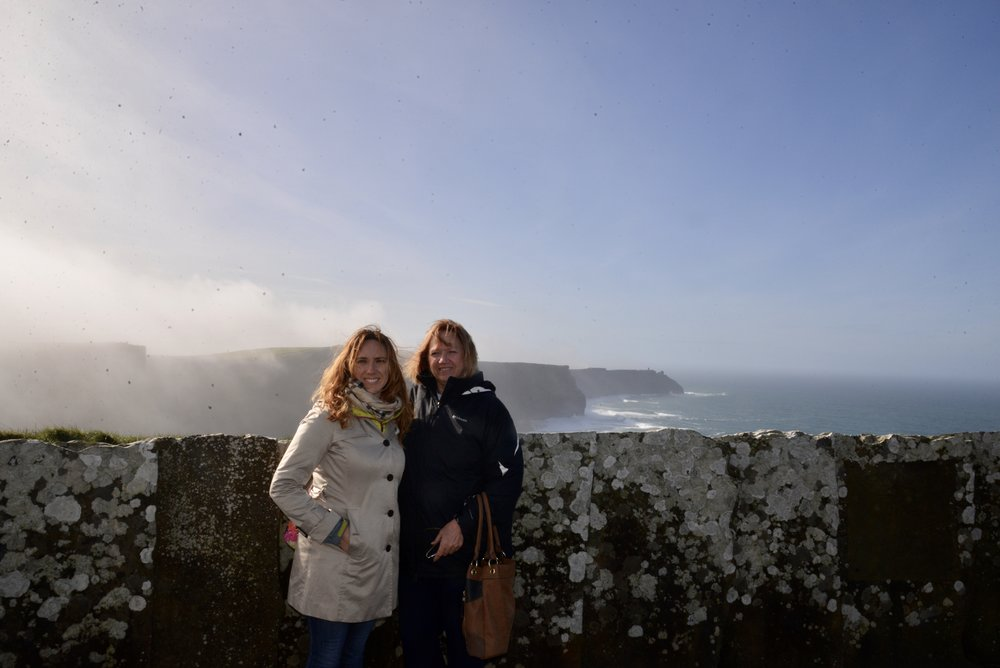 Check out that morning fog streaming off the Cliffs of Moher