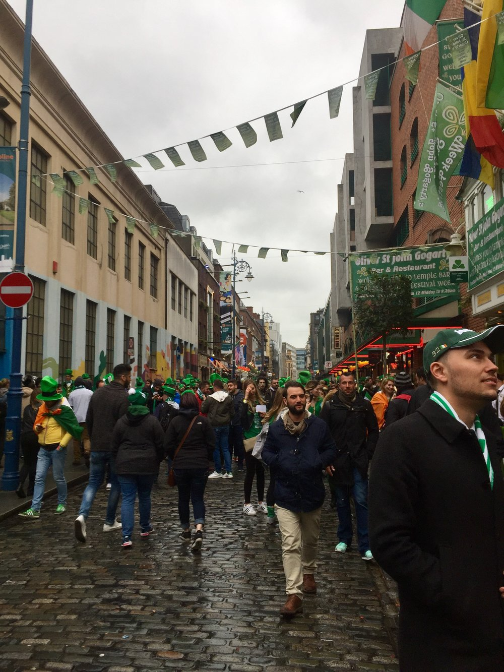 Temple Bar filling with revelers