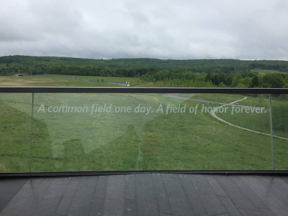 Looking out over the crash site of Flight 93 from the Visitor's Center