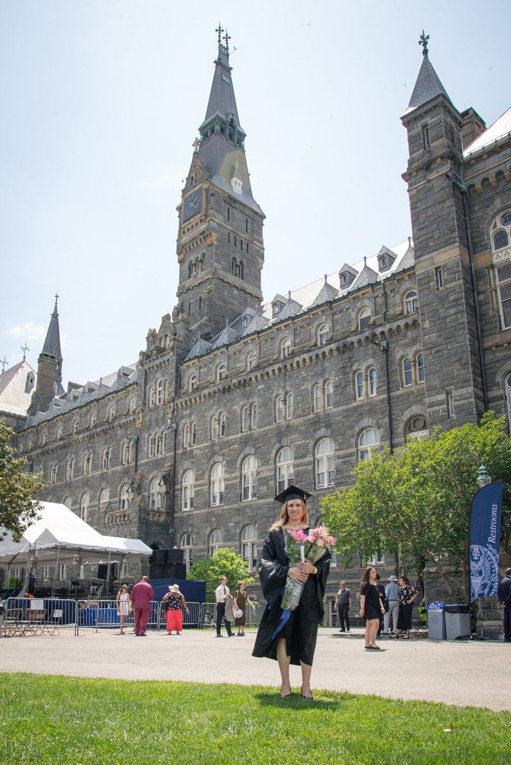 MBA Graduation in front of Healy Hall on Georgetown's main campus
