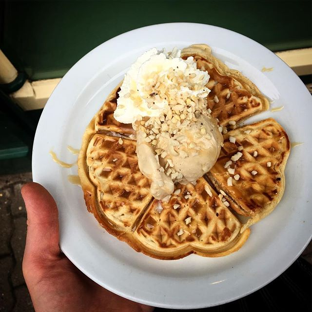 Toffee waffles. Yummy. #waffles #norwegianwaffles #icecream #bankholiday #mayday #shepherdsparlour