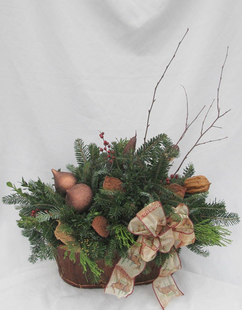 B- Mixture of evergreens and bronze decorations.jpg