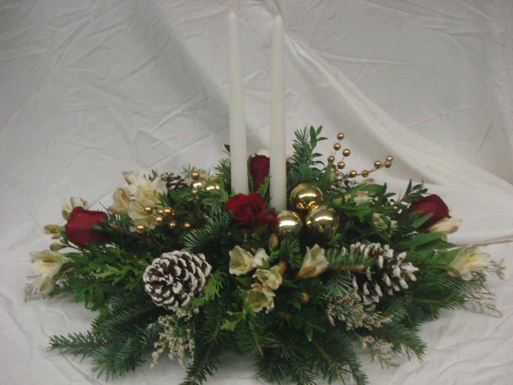 C- Double white candle with alstromeria and red roses.JPG