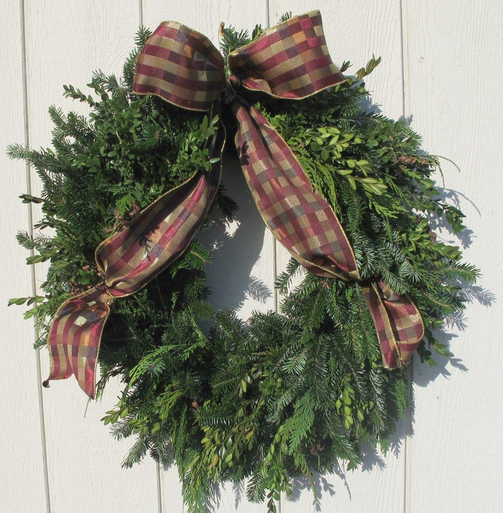 W- Mixed wreath with burgundy plaid bow.jpg
