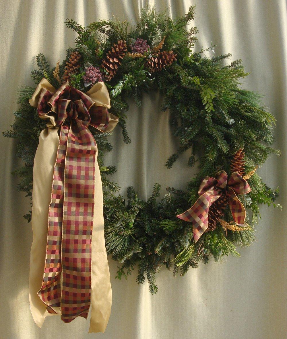 W- Mixed wreath burgundy and gold ribbon.jpg