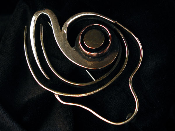 Sterling Silver and Copper Brooch