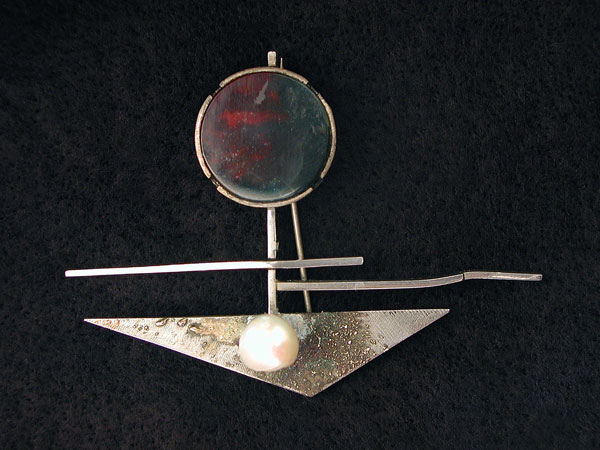 Bloodstone and Pearl Brooch