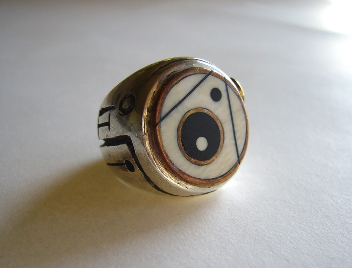 Dot Ring 1: Ebony and Ivory inlay, Sterling Silver, Copper, Brass and Red Bronze. Daniel Macchiarini