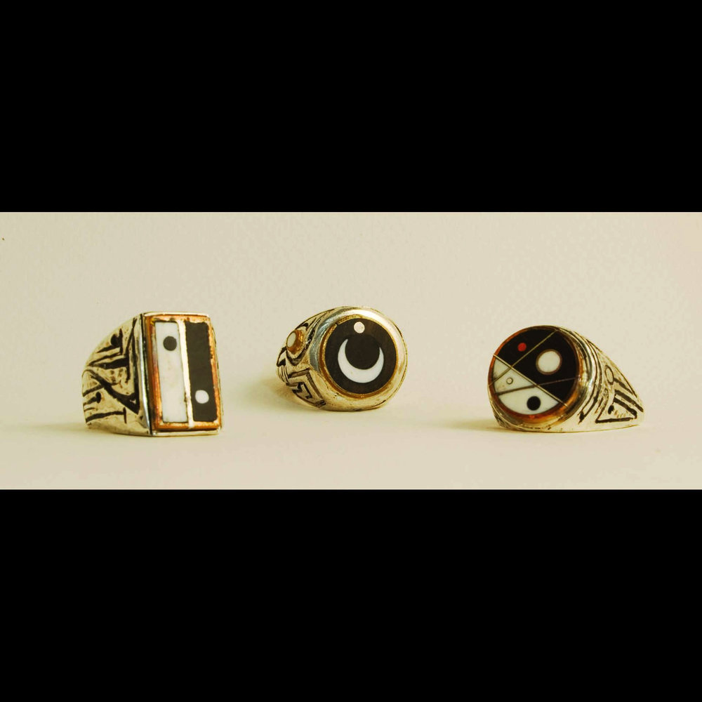 Dot Rings 7,8, and 9. Ebony and Ivory inlay, Sterling Silver, Copper, Brass and Red Bronze. Daniel Macchiarini