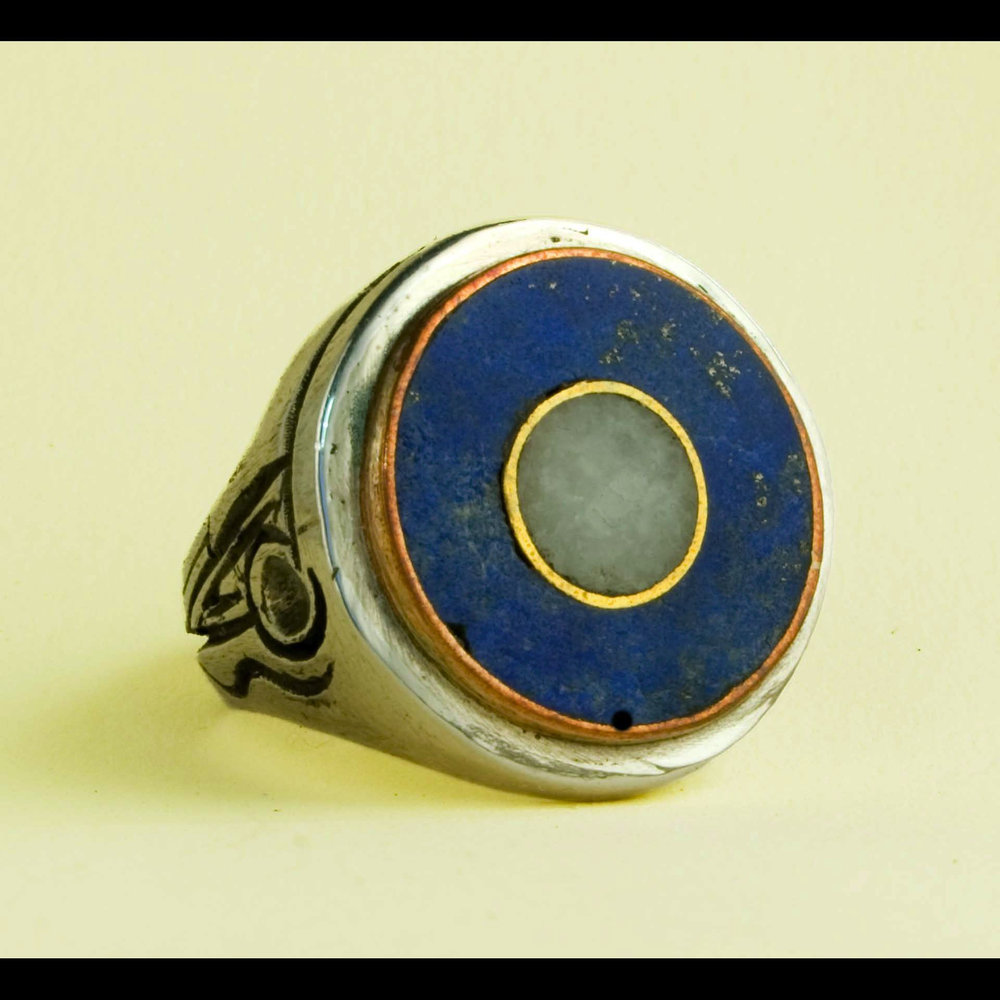 Dot Ring 17: Design Variation. Lapis and Carrera Marble inlay, Sterling Silver, Copper, Brass and Red Bronze. Daniel Macchiarini