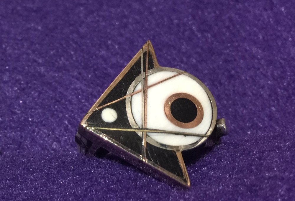 Arrow Dot.Dot Ring 18: Ebony and Ivory inlay, Sterling Silver, Copper, Brass and Red Bronze. Daniel Macchiarini