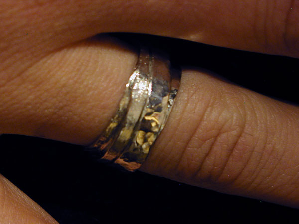 Melted Gold Over Sterling Silver Band