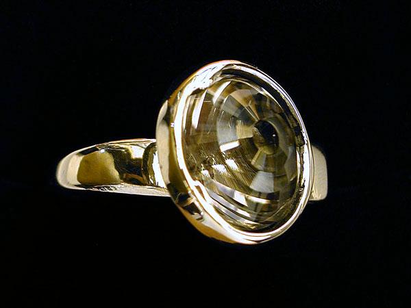"""Beehive"" Cut Rutilated Quartz Ring"