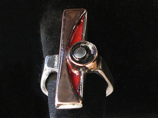 Red Enamel Inlay Ring