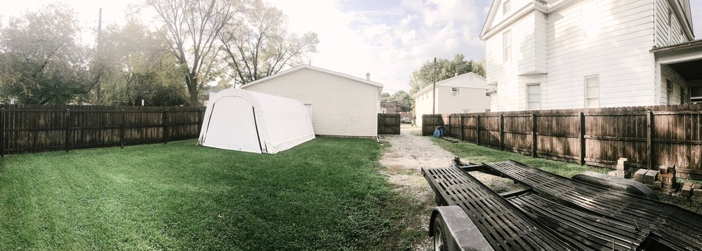 Behind our studio office. Can't wait to throw some fun gatherings in this space!