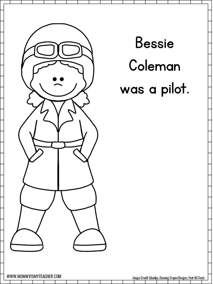 Bessie Coleman Coloring Page Titlermedicin Website