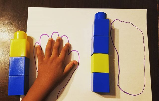 All about me math activity... using nonstandard units of measurement (preschool & kinder skill) to measure body parts & compare lengths. Click link in bio for more preschool homeschool fun!