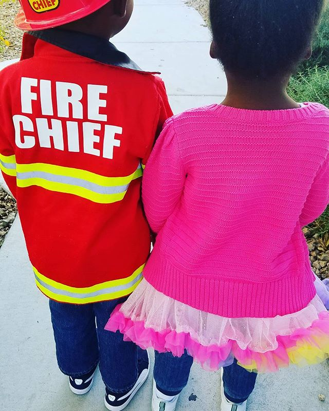 The twins were a Fire chief & a Princess...