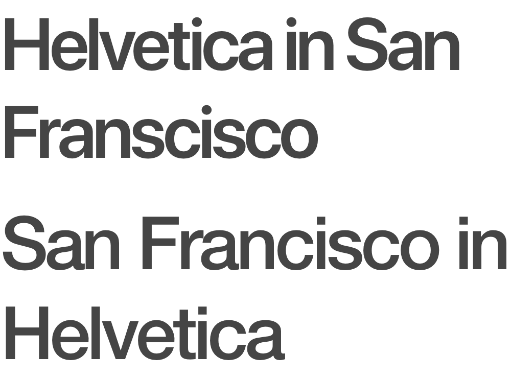 San Francisco above, and Helvetica Neue below / How similar these two are is quite a testament to the design perfection of Helvetica (it's been around since 1957).