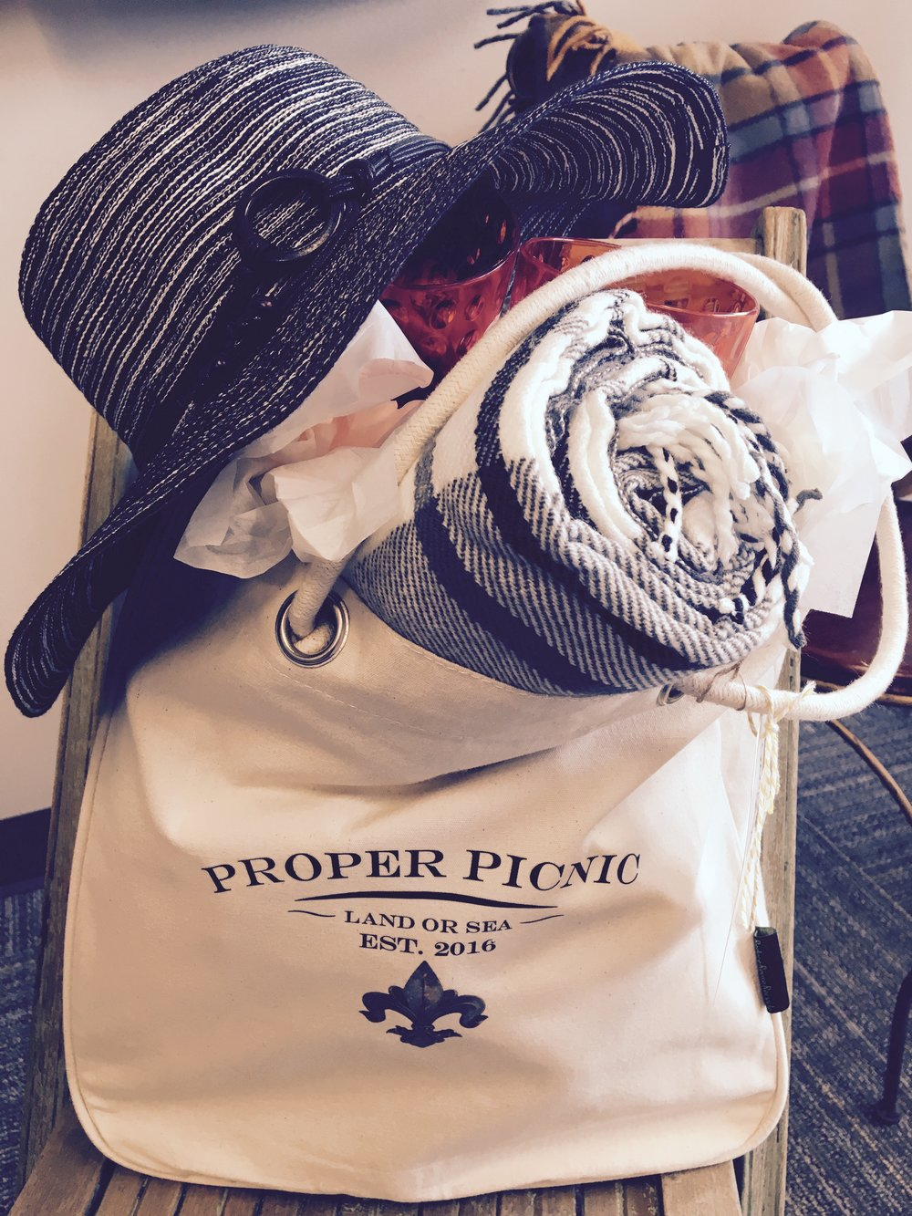 our custom canvas tote, with hat & blanket make a beautiful gift.  Check out other gift ideas here.