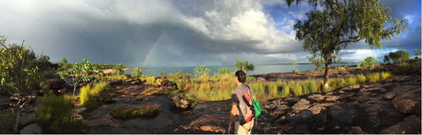 Walking out of Beach Grid towards the rainbow (Grid 4) with a bag full of quolls.