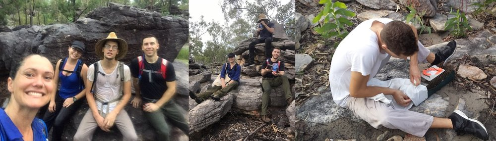 Quollity research team drenched from rains; A quick break ; Jakob extracting his first quoll
