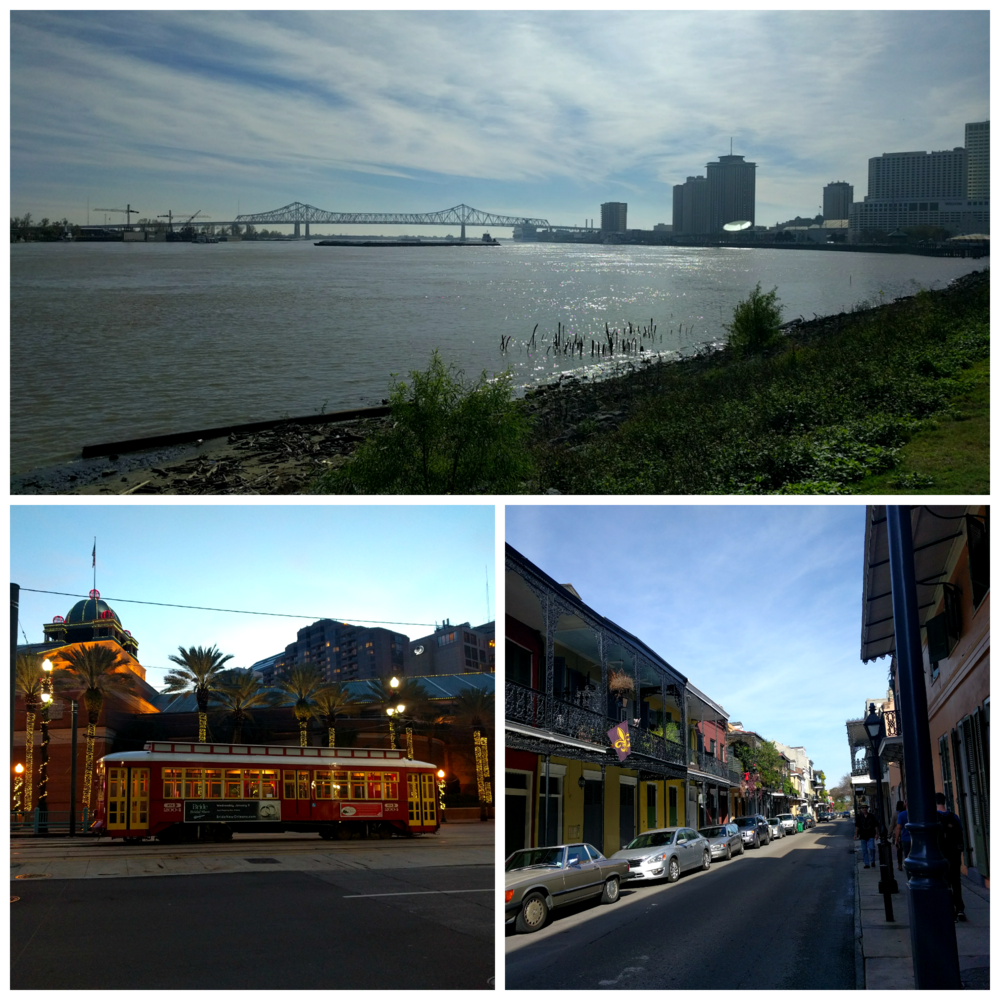 The Mississippi, pretty street cars, and the French Quarter.