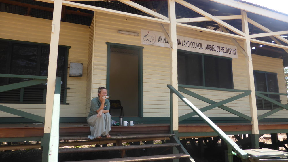Gwen out front the new Angurugu testing room