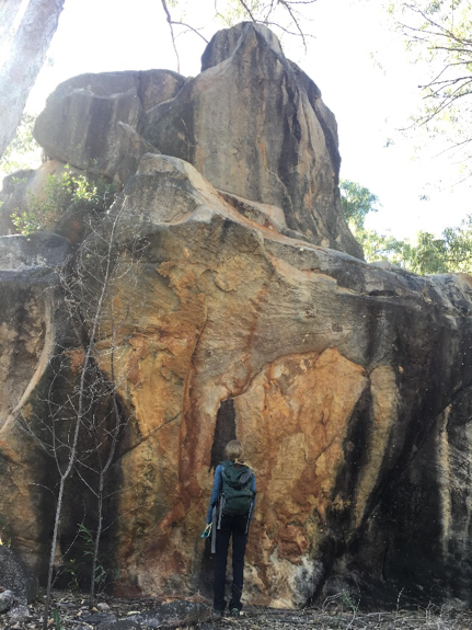 Hannah checking out some of the sandstone formations that Groote has on offer.