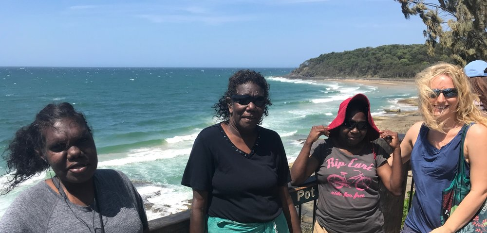 Photo: Cassandra Mamarika, Catherine Mamarika, Jocelyn Yantarrgna & Gwendolyn David on the excursion to Noosa Headland National Park.