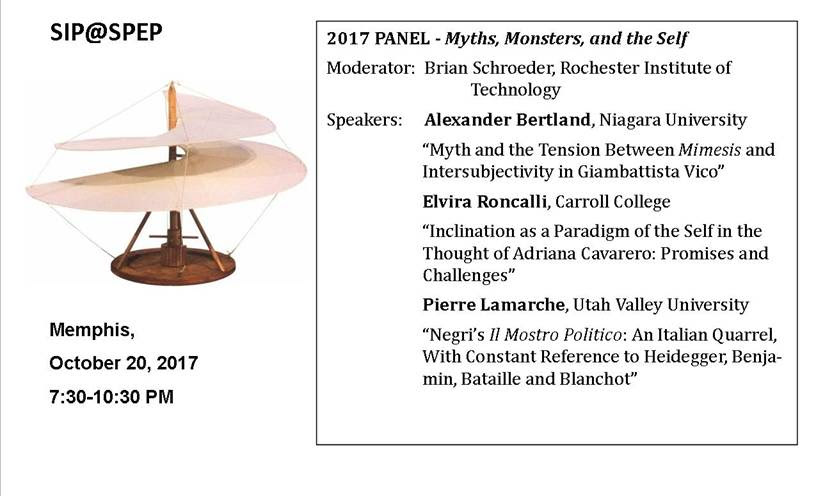 - SIP will host a panel at the 2017 SPEP meeting in Memphis on Friday, Oct. 20, at 7:30.A reception will follow at 9:30 (thanks to the generosity of Pierre Lamarche)