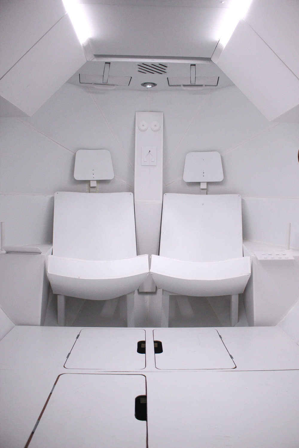 Seating arrangement for astronauts in final prototype