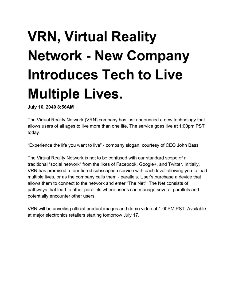 The Virtual Reality Network press release