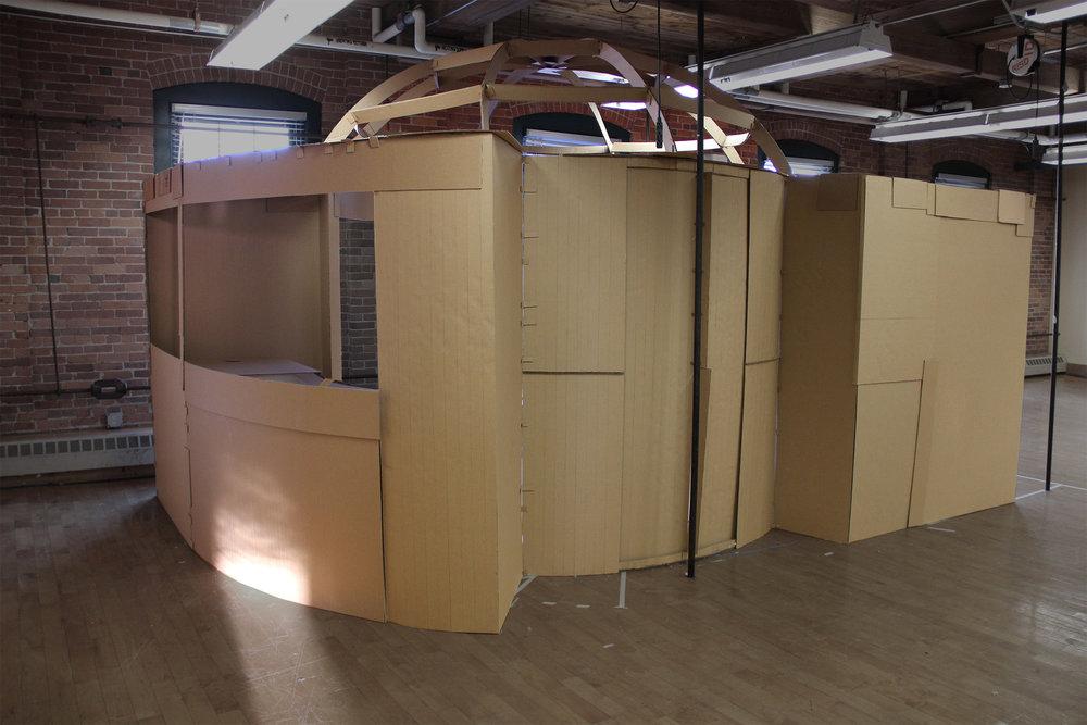 Final full scale cardboard model of   Sun Chaser  ,student group: Advait Kalakkad, Tiffany Kang, Qyu-Ri Kim, Kim Jin, Jasmine Gutbrod, Matt Donahue, Angelica Carvajales, Tiarra Bell, Izabela Clarke