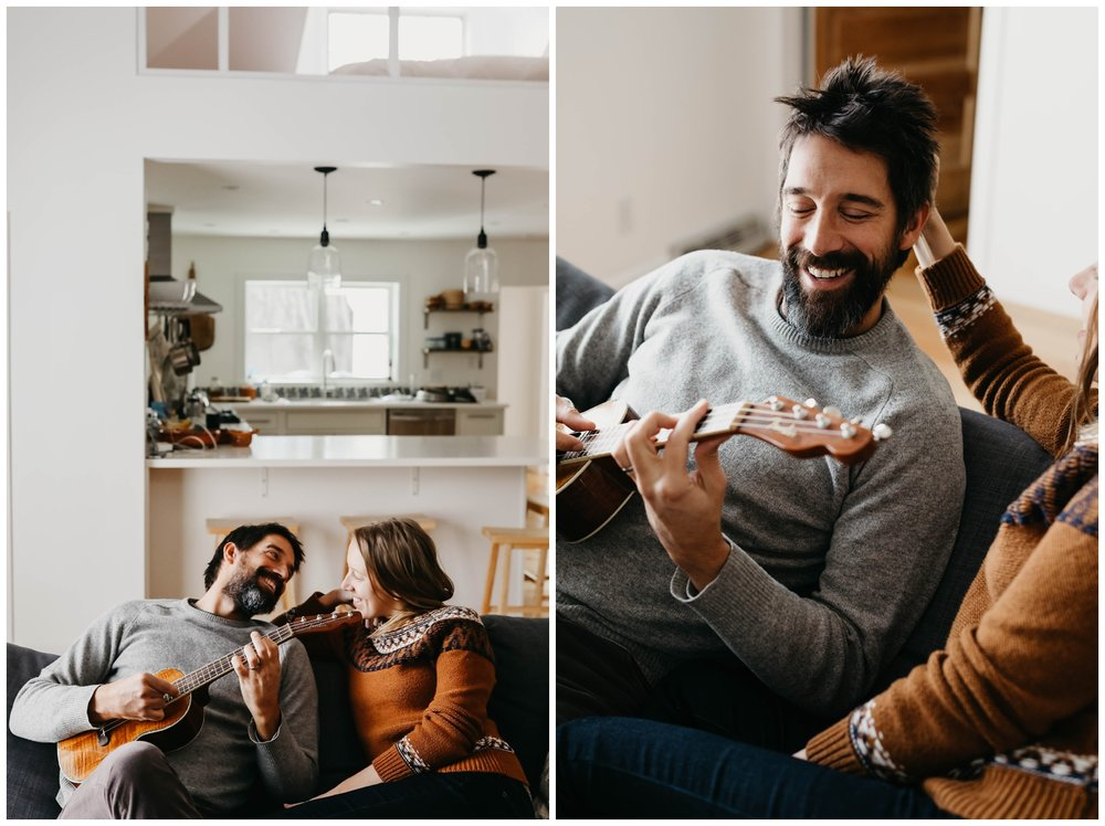 Michigan Couples Session. Couple hanging out playing ukelele