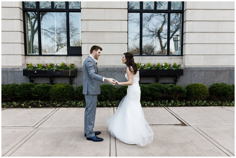 bride and groom first look in downtown chicago