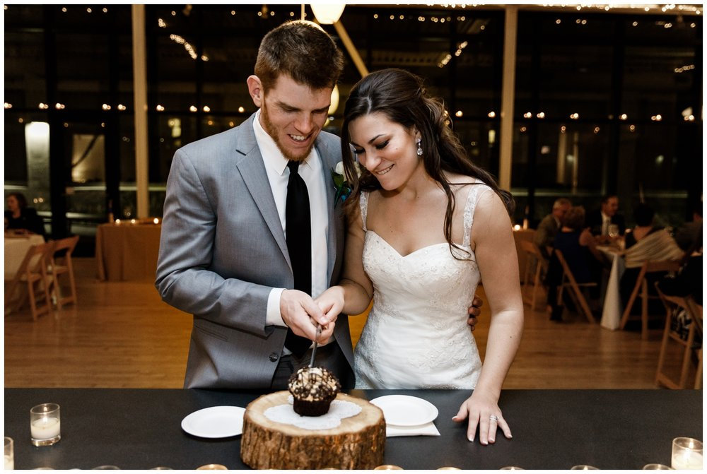 wedding cake cutting at Chicago's Greenhouse Loft