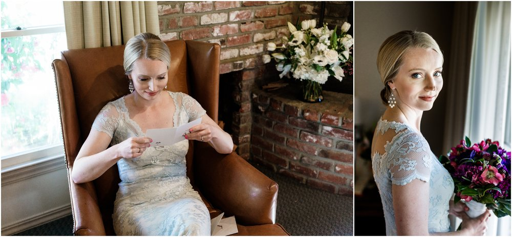 bride reading letter from groom at Harvest Inn in Napa Valley