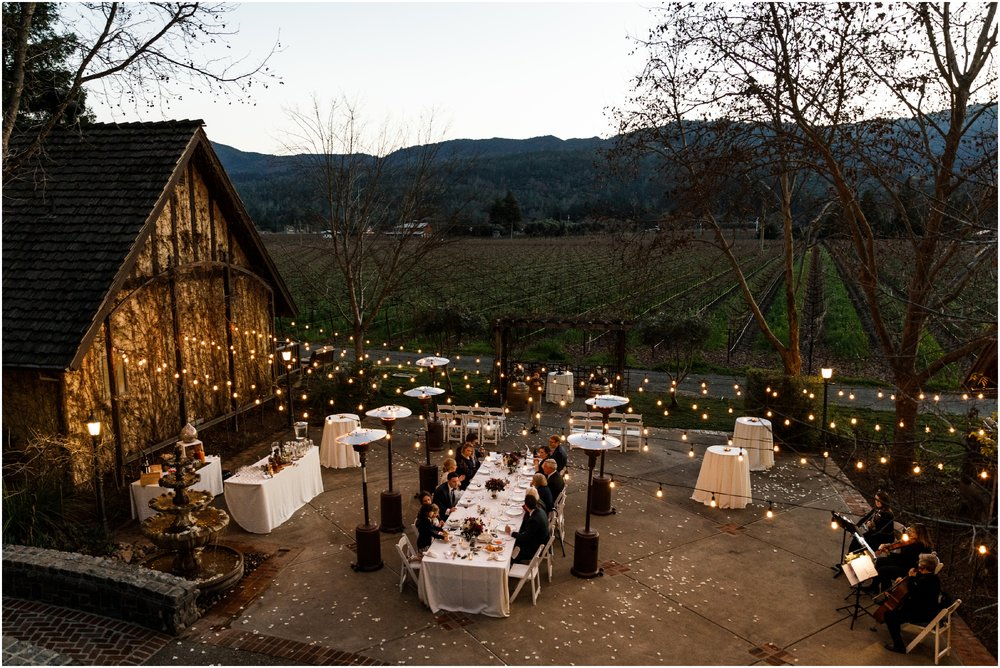wedding reception at the Harvest Inn during dusk