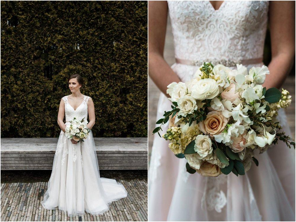 bride posing in Millennium park's Lurie garden