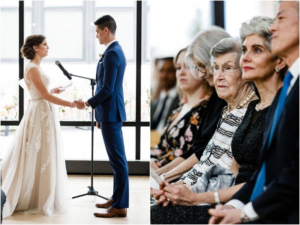 bride reading wedding vows