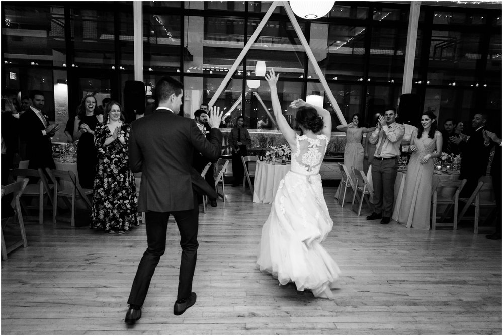 bride and groom dancing during introductions
