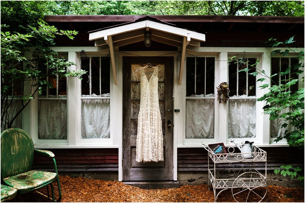 wedding dress hanging at Mill Creek Wilde wedding venue