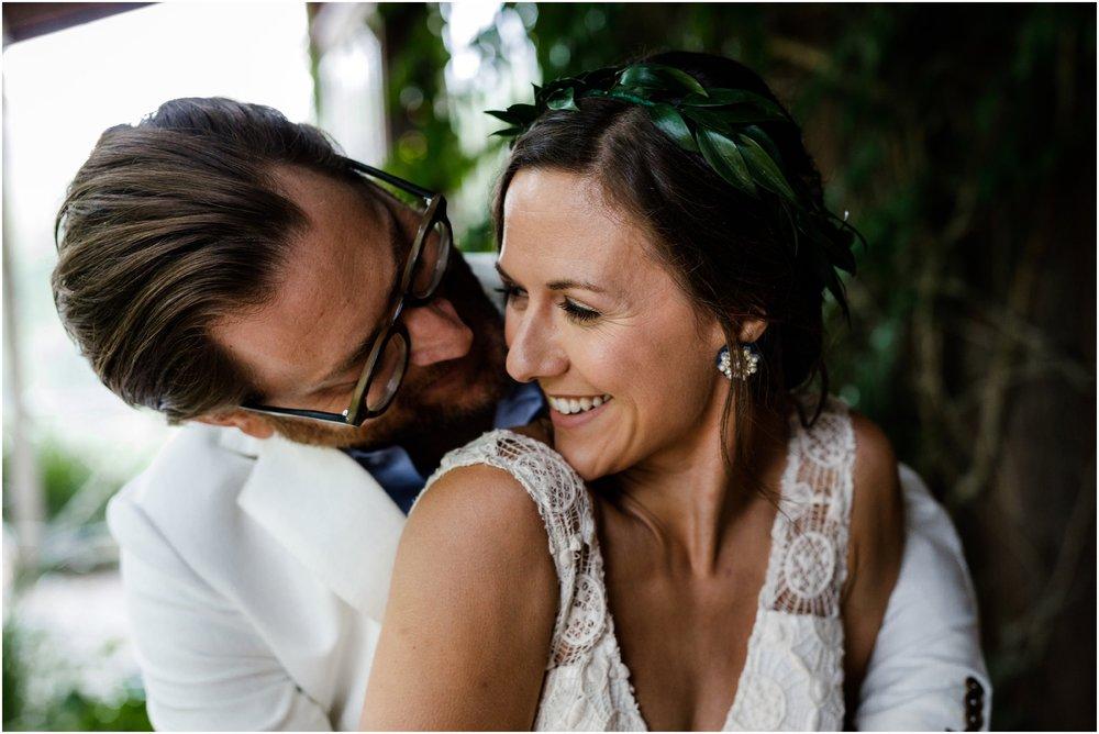 bride and groom embracing