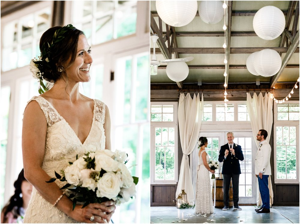 bride holding bouquet during ceremony