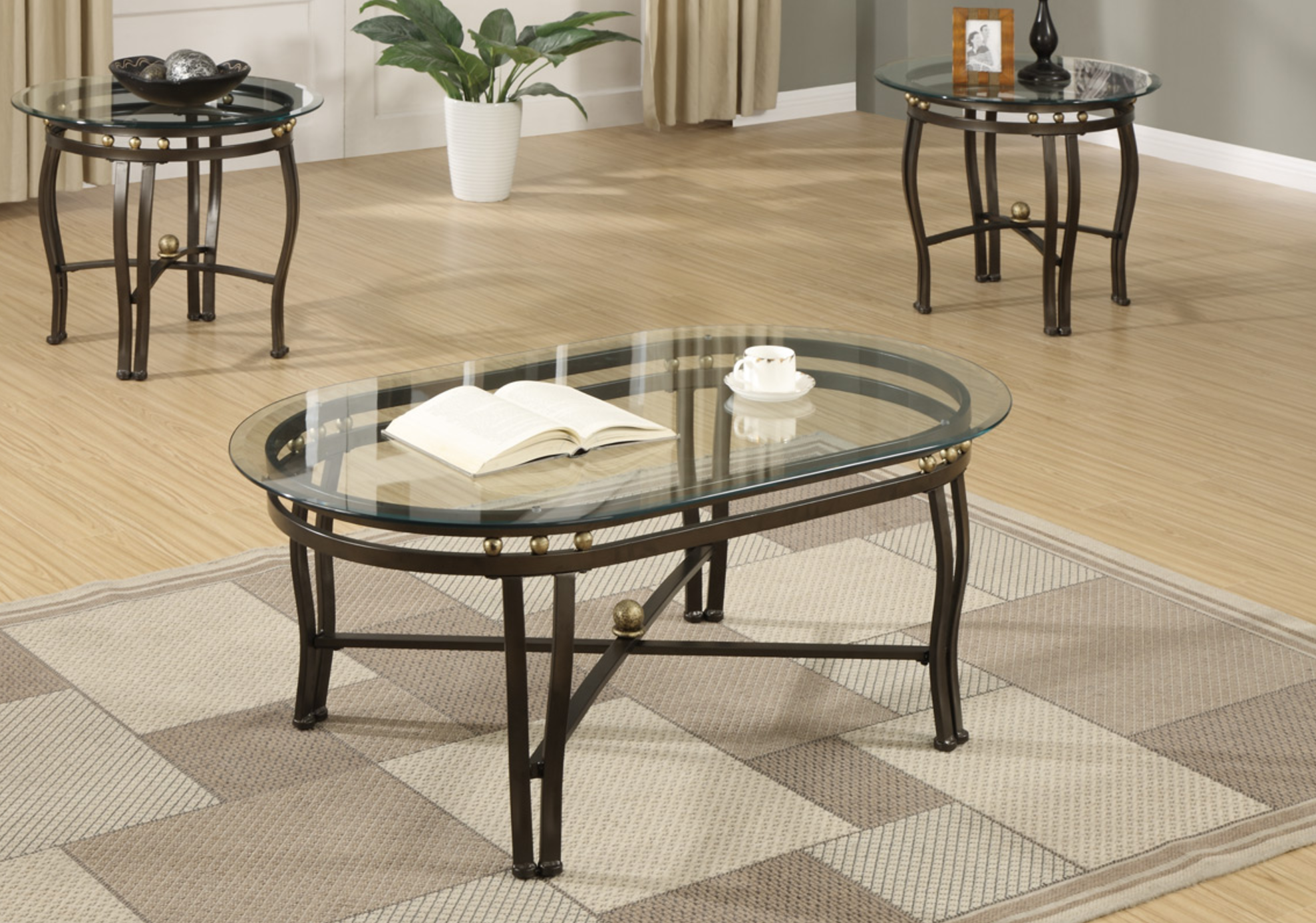 - 3-PCS COFFEE TABLE SET GLASS TOP — American Discount Furniture