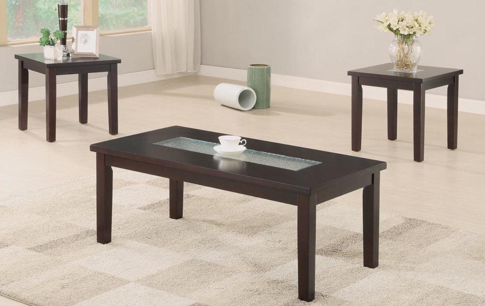 3 PCS COFFEE TABLE SET GLASS TOP